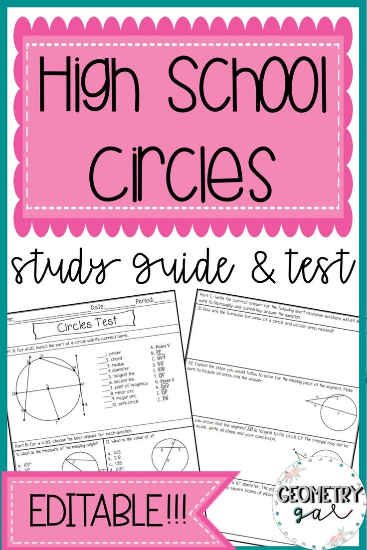 high school geometry study guide